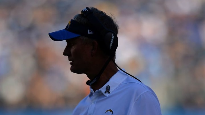 Nov 13, 2016; San Diego, CA, USA; San Diego Chargers head coach Mike McCoy during the second quarter against the Miami Dolphins at Qualcomm Stadium. Mandatory Credit: Jake Roth-USA TODAY Sports