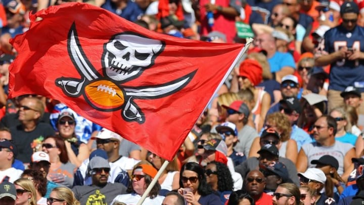 Nov 13, 2016; Tampa, FL, USA; A view of a Tampa Bay Buccaneers flag waved by fans at Raymond James Stadium. The Buccaneers won 36-10. Mandatory Credit: Aaron Doster-USA TODAY Sports