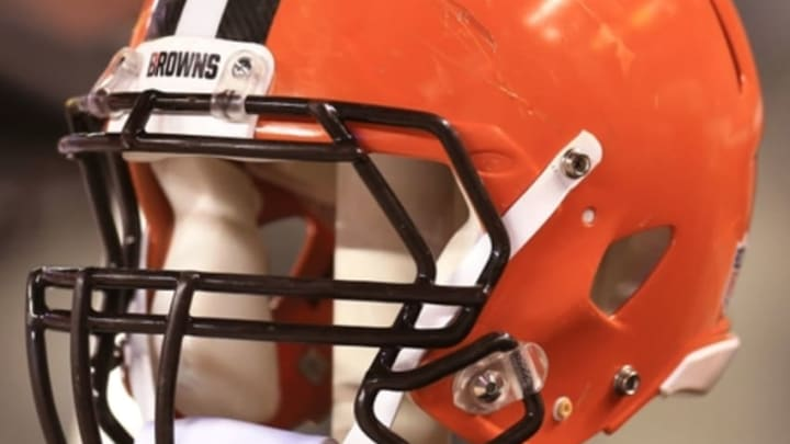 Aug 13, 2015; Cleveland, OH, USA; Detailed view of a Cleveland Browns helmet in a preseason NFL football game against the Washington Redskins at FirstEnergy Stadium. Mandatory Credit: Andrew Weber-USA TODAY Sports