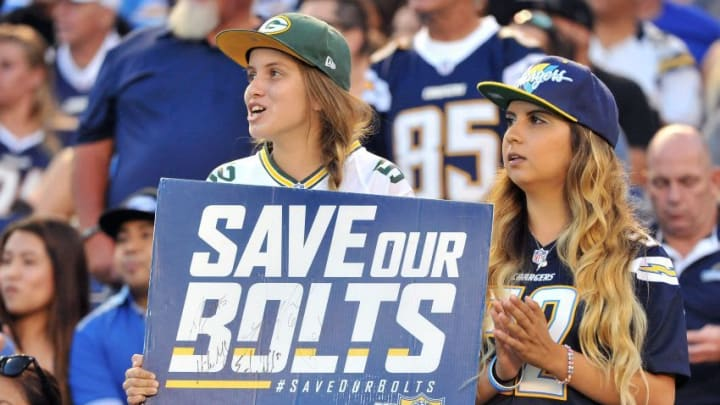 Aug 19, 2016; San Diego, CA, USA; Fans hold up a sign in reference to the Save Our Bolts initiative during the second quarter of the game between the San Diego Chargers and Arizona Cardinals at Qualcomm Stadium. Mandatory Credit: Orlando Ramirez-USA TODAY Sports