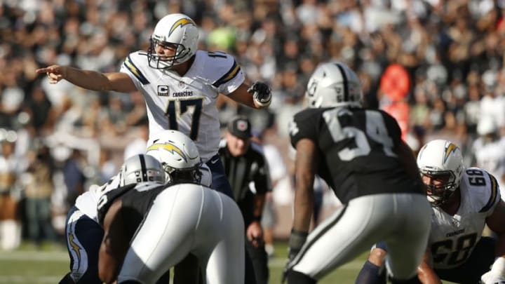 Oct 9, 2016; Oakland, CA, USA; San Diego Chargers quarterback Philip Rivers (17) calls a play against the Oakland Raiders in the fourth quarter at Oakland Coliseum. The Raiders defeated the Chargers 34-31. Mandatory Credit: Cary Edmondson-USA TODAY Sports