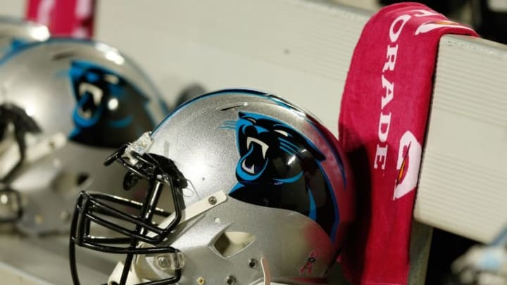 Oct 10, 2016; Charlotte, NC, USA; A Carolina Panthers helmet lays on the field prior to the game against the Tampa Bay Buccaneers at Bank of America Stadium. The Bucs defeated the Panthers 17-14. Mandatory Credit: Jeremy Brevard-USA TODAY Sports