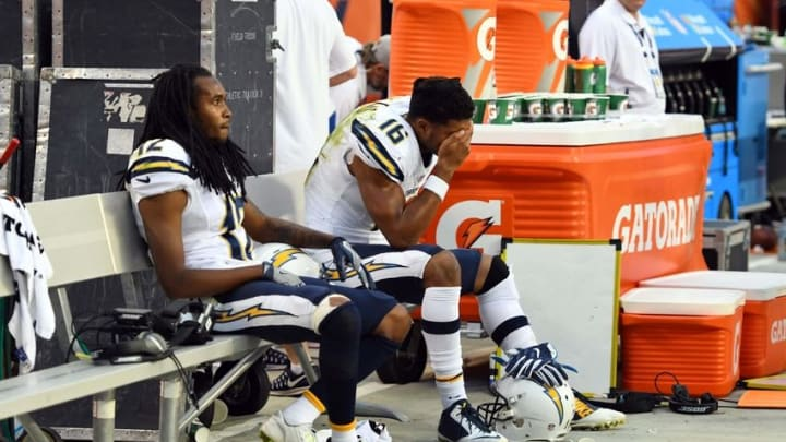 Oct 30, 2016; Denver, CO, USA; San Diego Chargers wide receiver Travis Benjamin (12) and wide receiver Tyrell Williams (16) sit on the bench as the fourth quarter comes to an end against the Denver Broncos at Sports Authority Field at Mile High. The Broncos defeated the Chargers 27-19. Mandatory Credit: Ron Chenoy-USA TODAY Sports