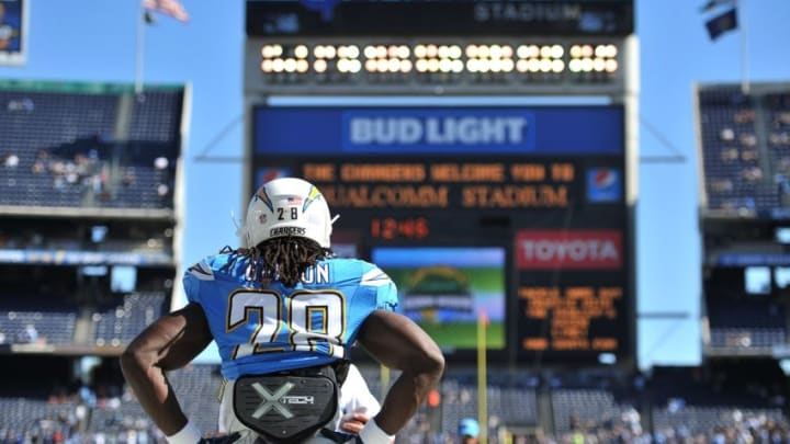 Nov 6, 2016; San Diego, CA, USA; San Diego Chargers running back Melvin Gordon (28) looks on from the field before the game against the Tennessee Titans at Qualcomm Stadium. Mandatory Credit: Orlando Ramirez-USA TODAY Sports