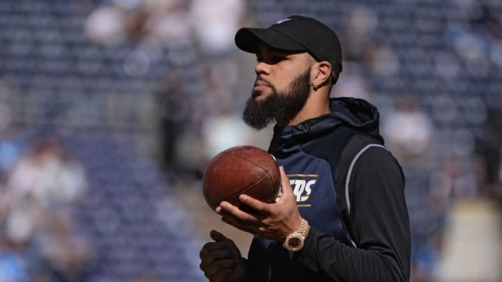Nov 6, 2016; San Diego, CA, USA; San Diego Chargers wide receiver Keenan Allen (13) looks on from the field before the game against the Tennessee Titans at Qualcomm Stadium. San Diego won 43-35. Mandatory Credit: Orlando Ramirez-USA TODAY Sports