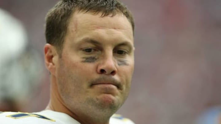 Nov 27, 2016; Houston, TX, USA; San Diego Chargers quarterback Philip Rivers (17) walks the sidelines while the Chargers play the Houston Texans at NRG Stadium. San Diego Chargers won 21 to 13. Mandatory Credit: Thomas B. Shea-USA TODAY Sports
