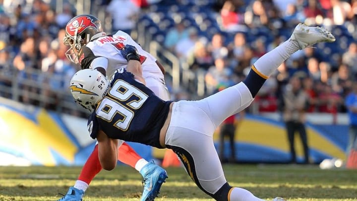 Dec 4, 2016; San Diego, CA, USA; San Diego Chargers defensive end Joey Bosa (99) sacks Tampa Bay Buccaneers quarterback Jameis Winston (3) during the second quarter at Qualcomm Stadium. Mandatory Credit: Jake Roth-USA TODAY Sports