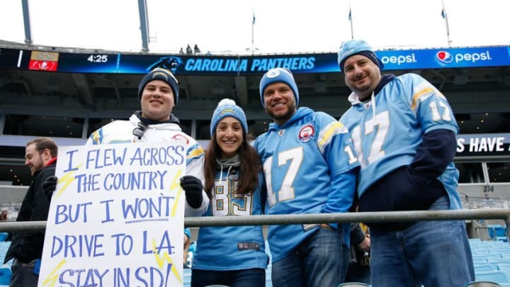 Dec 11, 2016; Charlotte, NC, USA; San Diego Chargers fans hold up a sign prior to the game against the Carolina Panthers at Bank of America Stadium. Mandatory Credit: Jeremy Brevard-USA TODAY Sports