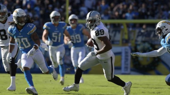 Dec 18, 2016; San Diego, CA, USA; Oakland Raiders wide receiver Amari Cooper (89) carries the ball in the second quarter against the San Diego Chargers at Qualcomm Stadium. Mandatory Credit: Kirby Lee-USA TODAY Sports