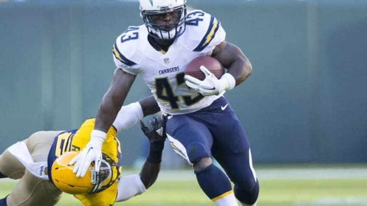 Oct 18, 2015; Green Bay, WI, USA; San Diego Chargers running back Branden Oliver (43) rushes with the football during the second quarter against the Green Bay Packers at Lambeau Field. Mandatory Credit: Jeff Hanisch-USA TODAY Sports