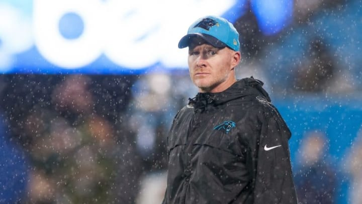 Nov 2, 2015; Charlotte, NC, USA; Carolina Panthers defensive coordinator Sean McDermott stands on the field prior to the game against the Indianapolis Colts at Bank of America Stadium. Carolina defeated Indianapolis 29-26 in overtime. Mandatory Credit: Jeremy Brevard-USA TODAY Sports
