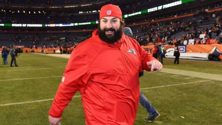 Dec 18, 2016; Denver, CO, USA; New England Patriots defensive coordinator Matt Patricia reacts as he leaves the field following the win against the Denver Broncos at Sports Authority Field. The Patriots defeated the Broncos 16-3. Mandatory Credit: Ron Chenoy-USA TODAY Sports