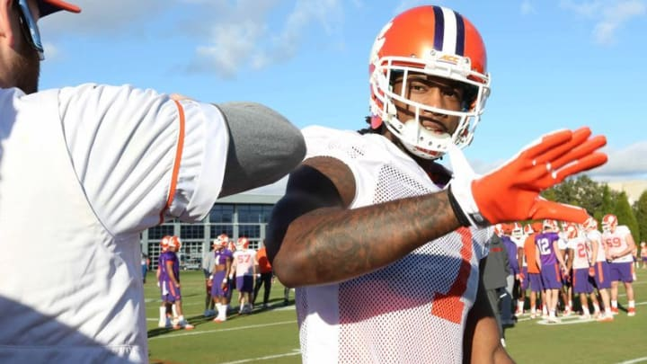 Jan 7, 2017; Tampa, FL, USA; Clemson Tigers wide receiver Mike Williams (7) greets a coach during Clemson Tigers practice at Tampa Bay Buccaneers Complex. Mandatory Credit: Kim Klement-USA TODAY Sports