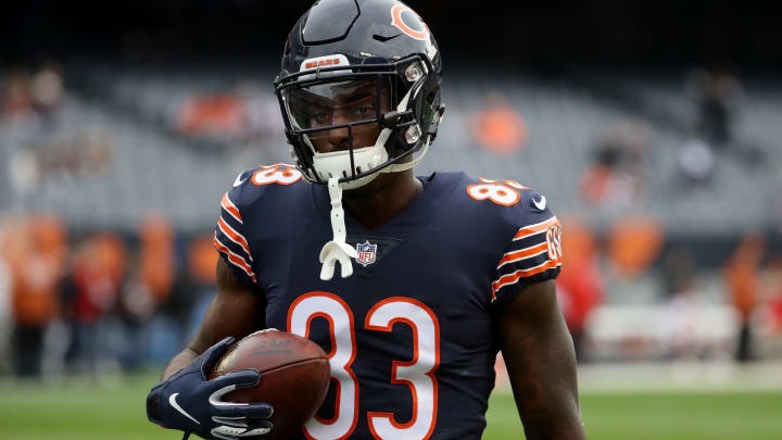 CHICAGO, IL – SEPTEMBER 30: Javon Wims #83 of the Chicago Bears warms up prior to the game against the Tampa Bay Buccaneers at Soldier Field on September 30, 2018, in Chicago, Illinois. (Photo by Jonathan Daniel/Getty Images)