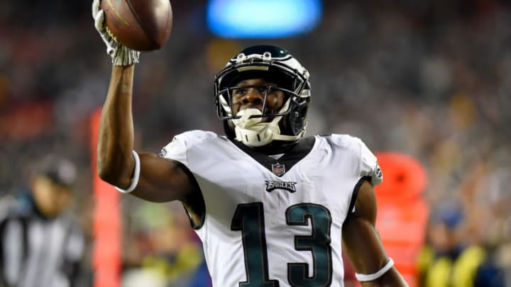 LANDOVER, MD - DECEMBER 30: Nelson Agholor #13 of the Philadelphia Eagles celebrates his touchdown against the Washington Redskins during the second half at FedExField on December 30, 2018 in Landover, Maryland. (Photo by Will Newton/Getty Images)