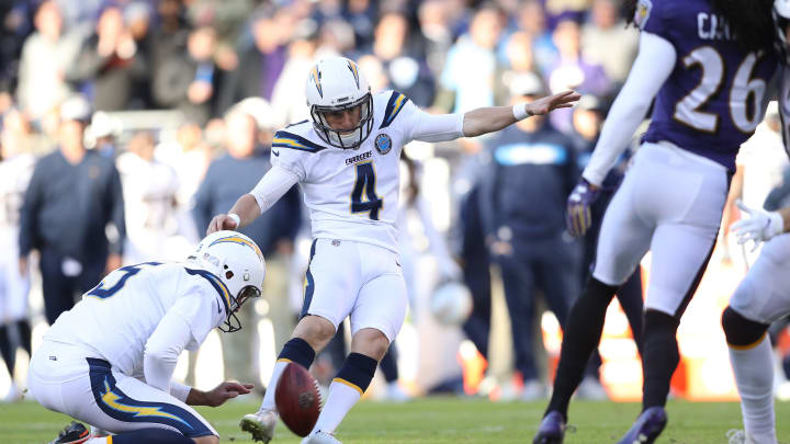BALTIMORE, MARYLAND – JANUARY 06: Kicker Mike Badgley #4 of the Los Angeles Chargers in action against the Baltimore Ravens during the AFC Wild Card Playoff game at M&T Bank Stadium on January 06, 2019 in Baltimore, Maryland. (Photo by Patrick Smith/Getty Images)