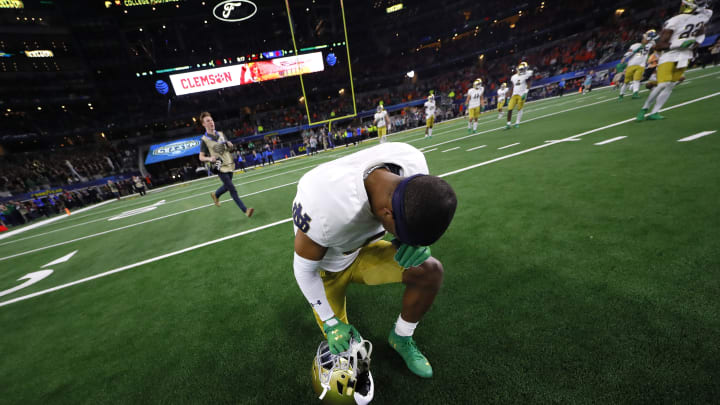 ARLINGTON, TEXAS – DECEMBER 29: Troy Pride Jr. #5 of the Notre Dame Fighting Irish reacts on the field after being defeated by the Clemson Tigers during the College Football Playoff Semifinal Goodyear Cotton Bowl Classic at AT&T Stadium on December 29, 2018, in Arlington, Texas. Clemson defeated Notre Dame 30-3.(Photo by Kevin C. Cox/Getty Images) (Photo by Kevin C. Cox/Getty Images)