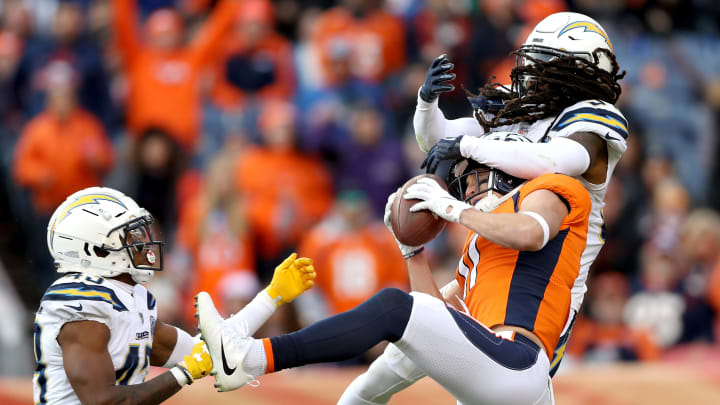 DENVER, COLORADO – DECEMBER 30: River Cracraft #11 of the Denver Broncos makes a reception against Jahleel Addae #37 the Los Angeles Chargers at Broncos Stadium at Mile High on December 30, 2018 in Denver, Colorado. (Photo by Matthew Stockman/Getty Images)