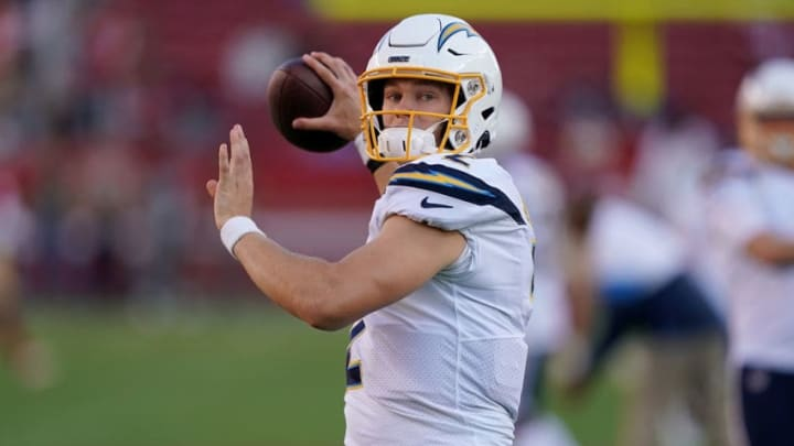 SANTA CLARA, CA - AUGUST 29: Easton Stick #2 of the Los Angeles Chargers warms up during pregame warm ups prior to the start of an NFL football game against the San Francisco 49ers at Levi's Stadium on August 29, 2019 in Santa Clara, California. (Photo by Thearon W. Henderson/Getty Images)