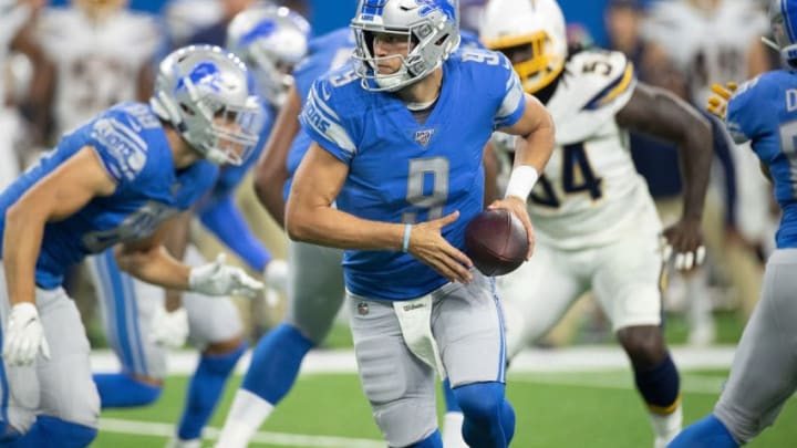 DETROIT, MI - SEPTEMBER 15: Matthew Stafford #9 of the Detroit Lions hands the ball off during the first quarter of the game against the Los Angeles Chargers at Ford Field on September 15, 2019 in Detroit, Michigan. (Photo by Leon Halip/Getty Images)