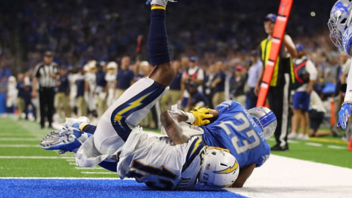 DETROIT, MICHIGAN - SEPTEMBER 15: Darius Slay #23 of the Detroit Lions intercepts a fourth quarter pass in front of Keenan Allen #13 of the Los Angeles Chargers at Ford Field on September 15, 2019 in Detroit, Michigan. (Photo by Gregory Shamus/Getty Images)