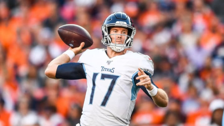 DENVER, CO - OCTOBER 13: Ryan Tannehill #17 of the Tennessee Titans passes against the Denver Broncos in the fourth quarter at Empower Field at Mile High on October 13, 2019 in Denver, Colorado. (Photo by Dustin Bradford/Getty Images)