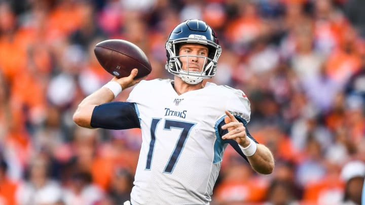 DENVER, CO – OCTOBER 13: Ryan Tannehill #17 of the Tennessee Titans passes against the Denver Broncos in the fourth quarter at Empower Field at Mile High on October 13, 2019, in Denver, Colorado. (Photo by Dustin Bradford/Getty Images)