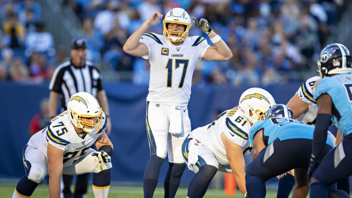 NASHVILLE, TN – OCTOBER 20: Philip Rivers #17 of the Los Angeles Chargers signals at the line of scrimmage during a game against the Tennessee Titans at Nissan Stadium on October 20, 2019 in Nashville, Tennessee. The Titans defeated the Chargers 23-20. (Photo by Wesley Hitt/Getty Images)