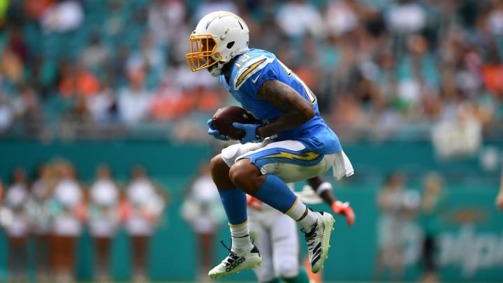 MIAMI, FLORIDA – SEPTEMBER 29: Keenan Allen #13 of the Los Angeles Chargers makes a catch in the third quarter against the Miami Dolphins at Hard Rock Stadium on September 29, 2019 in Miami, Florida. (Photo by Mark Brown/Getty Images)