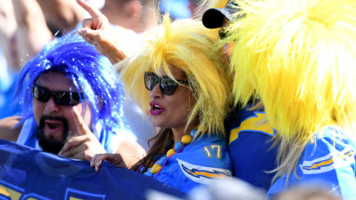 CARSON, CALIFORNIA - OCTOBER 06: Los Angeles Chargers fans during the second quarter against the Denver Broncos at Dignity Health Sports Park on October 06, 2019 in Carson, California. (Photo by Harry How/Getty Images)