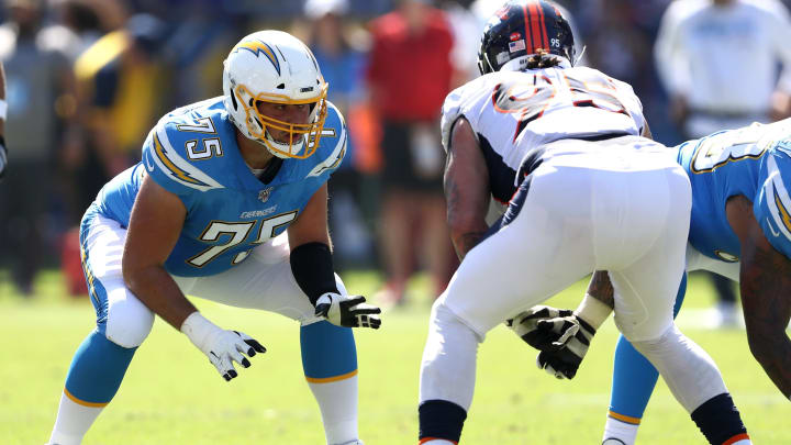 CARSON, CALIFORNIA – OCTOBER 06: Michael Schofield #75 of the Los Angeles Chargers lines up on the offensive line during the second half of a game against the Denver Broncos at Dignity Health Sports Park on October 06, 2019, in Carson, California. (Photo by Sean M. Haffey/Getty Images)