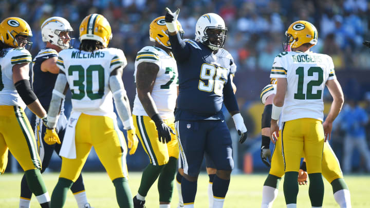 CARSON, CALIFORNIA – NOVEMBER 03: Sylvester Williams #96 of the Los Angeles Chargers reacts against the Green Bay Packers at Dignity Health Sports Park on November 03, 2019 in Carson, California. (Photo by Harry How/Getty Images)