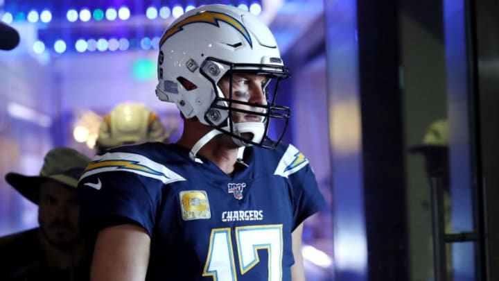 CARSON, CALIFORNIA - NOVEMBER 03: Philip Rivers #17 of the Los Angeles Chargers walks to the field before the game against the Green Bay Packers at Dignity Health Sports Park on November 03, 2019 in Carson, California. (Photo by Sean M. Haffey/Getty Images)