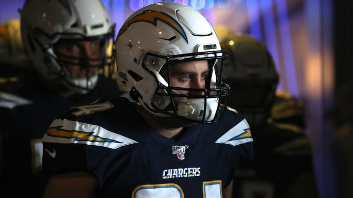 CARSON, CALIFORNIA – NOVEMBER 03: Derek Watt #34 of the Los Angeles Chargers walks onto the field prior to the first half of a game against the Green Bay Packers at Dignity Health Sports Park on November 03, 2019 in Carson, California. (Photo by Sean M. Haffey/Getty Images)