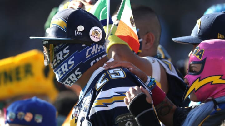 CARSON, CALIFORNIA - NOVEMBER 03: A Los Angeles Chargers fan looks on during the first half of a game against the Green Bay Packers at Dignity Health Sports Park on November 03, 2019 in Carson, California. (Photo by Sean M. Haffey/Getty Images)
