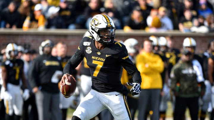 COLUMBIA, MISSOURI – NOVEMBER 16: Quarterback Kelly Bryant #7 of the Missouri Tigers looks to pass against the Florida Gators in the third quarter at Faurot Field/Memorial Stadium on November 16, 2019, in Columbia, Missouri. (Photo by Ed Zurga/Getty Images)