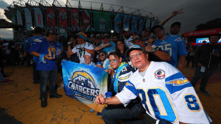 MEXICO CITY, MEXICO - NOVEMBER 18: Fans of the Los Angeles Chargers pose for photos before the game against the Kansas City Chiefs at Estadio Azteca on November 18, 2019 in Mexico City, Mexico. (Photo by Manuel Velasquez/Getty Images)