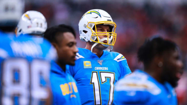 MEXICO CITY, MEXICO - NOVEMBER 18: Quarterback Philip Rivers #17 of Los Angeles Chargers during the warm up before the match aginst Kansas City Chiefs at Estadio Azteca on November 18, 2019 in Mexico City, Mexico. (Photo by Manuel Velasquez/Getty Images)