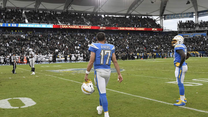 CARSON, CA – DECEMBER 22: Quarterback Philip Rivers #17 of the Los Angeles Chargers walks off the field after the Oakland Raiders defeated the Chargers, 24-17, at Dignity Health Sports Park on December 22, 2019 in Carson, California. (Photo by Kevork Djansezian/Getty Images)