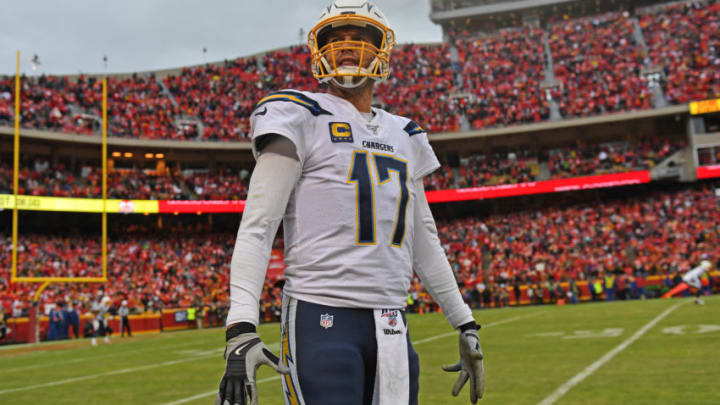KANSAS CITY, MO - DECEMBER 29: Quarterback Philip Rivers #17 of the Los Angeles Chargers looks up into the stands during the second half against the Kansas City Chiefs at Arrowhead Stadium on December 29, 2019 in Kansas City, Missouri. (Photo by Peter Aiken/Getty Images)