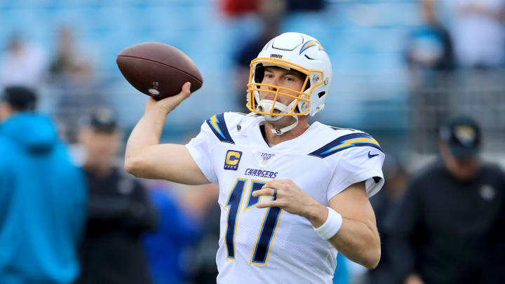 JACKSONVILLE, FLORIDA – DECEMBER 08: Philip Rivers #17 of the Los Angeles Chargers warms up prior to the game against the Jacksonville Jaguars at TIAA Bank Field on December 08, 2019, in Jacksonville, Florida. (Photo by Sam Greenwood/Getty Images)
