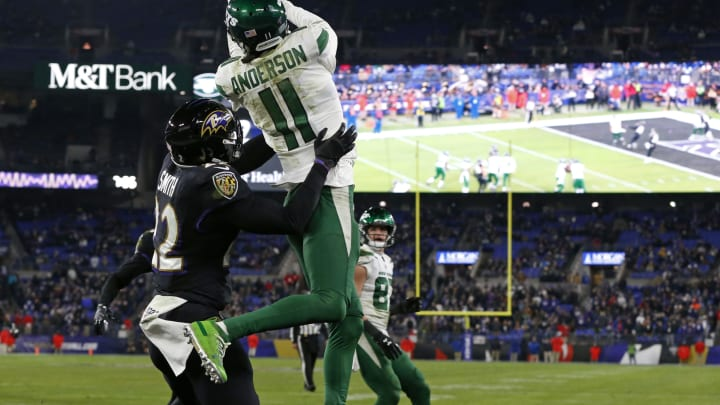 BALTIMORE, MARYLAND – DECEMBER 12: Wide receiver Robby Anderson #11 of the New York Jets catches a two-point conversion during the fourth quarter against the Baltimore Ravens at M&T Bank Stadium on December 12, 2019, in Baltimore, Maryland. (Photo by Todd Olszewski/Getty Images)