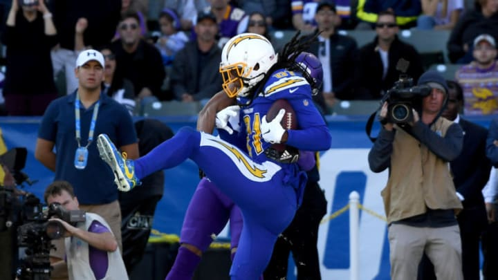CARSON, CALIFORNIA - DECEMBER 15: Mike Williams #81 makes a catch for a touchdown, to take a 10-9 lead over the Minnesota Vikings during the second quarter at Dignity Health Sports Park on December 15, 2019 in Carson, California. (Photo by Harry How/Getty Images)