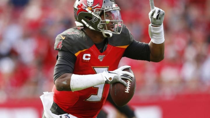 TAMPA, FLORIDA - DECEMBER 29: Jameis Winston #3 of the Tampa Bay Buccaneers scrambles with the ball against the Atlanta Falcons during the second half at Raymond James Stadium on December 29, 2019 in Tampa, Florida. (Photo by Michael Reaves/Getty Images)