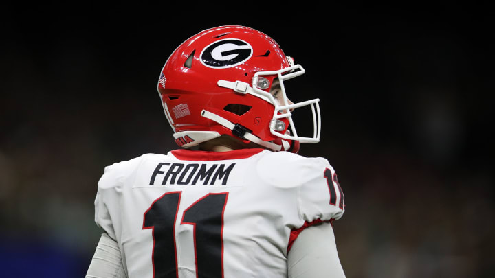 NEW ORLEANS, LOUISIANA – JANUARY 01: Jake Fromm #11 of the Georgia Bulldogs looks on during the game against the Baylor Bears during the Allstate Sugar Bowl at Mercedes Benz Superdome on January 01, 2020, in New Orleans, Louisiana. (Photo by Chris Graythen/Getty Images)