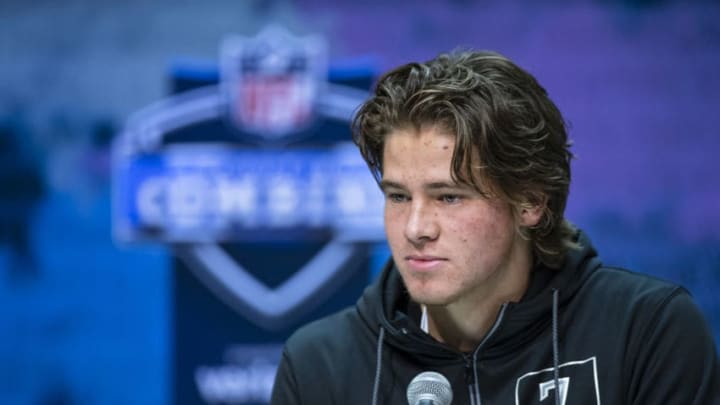 INDIANAPOLIS, IN - FEBRUARY 25: Justin Herbert #QB07 of the Oregon Ducks speaks to the media at the Indiana Convention Center on February 25, 2020 in Indianapolis, Indiana. (Photo by Michael Hickey/Getty Images) *** Local Capture *** Justin Herbert