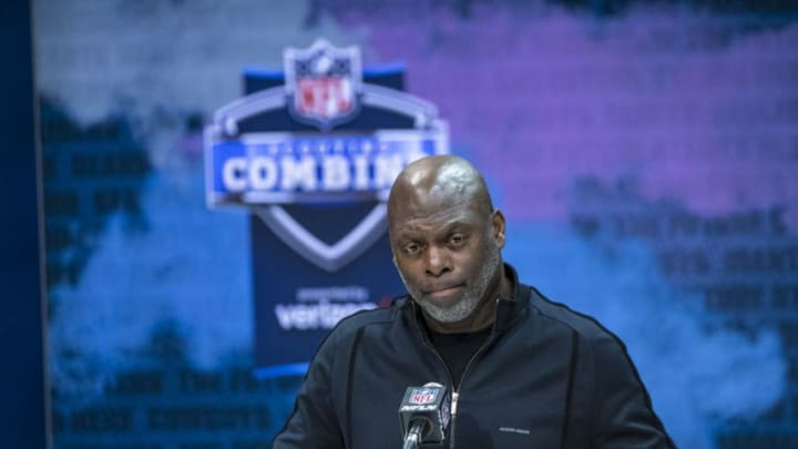 INDIANAPOLIS, IN - FEBRUARY 25: Head coach Anthony Lynn of the Los Angeles Chargers speaks to the media at the Indiana Convention Center on February 25, 2020 in Indianapolis, Indiana. (Photo by Michael Hickey/Getty Images) *** Local Capture *** Anthony Lynn