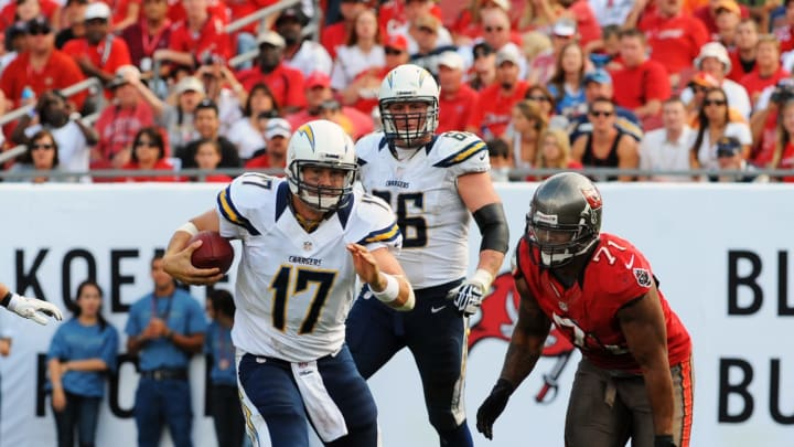 TAMPA, FL – NOVEMBER 11: Quarterback Philip Rivers #17 of the San Diego Chargers runs upfield against the Tampa Bay Buccaneers November 11, 2012, at Raymond James Stadium in Tampa, Florida. Tampa won 34 – 24. (Photo by Al Messerschmidt/Getty Images)