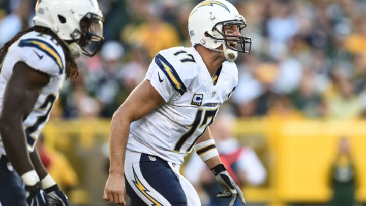 GREEN BAY, WI - OCTOBER 18: Quarterback Philip Rivers #17 of the San Diego Chargers yells out in the second quarter during the game against the Green Bay Packers at Lambeau Field on October 18, 2015 in Green Bay, Wisconsin. (Photo by Stacy Revere/Getty Images)