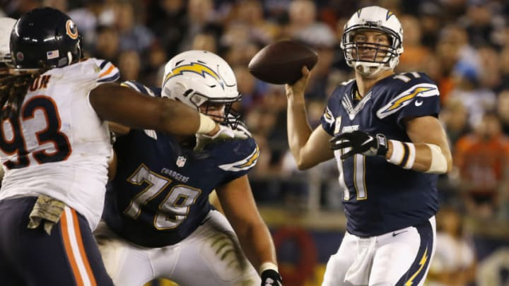SAN DIEGO, CA - NOVEMBER 09: Philip Rivers #17 of the San Diego Chargers looks to pass against the Chicago Bears at Qualcomm Stadium on November 9, 2015 in San Diego, California. (Photo by Sean M. Haffey/Getty Images)